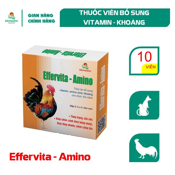 Vemedim Effervita-amino thuốc viên giúp chim cảnh, chó mèo lông bóng mượt, sức khỏe tốt, hộp 10 viên