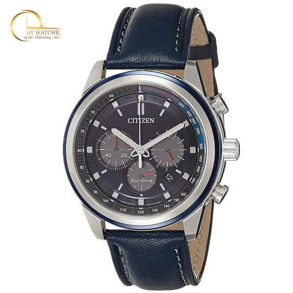 Đồng hồ Citizen Nam Eco-Drive Chronograph Tachymeter CA4031-07L Mặt xanh, dây da, kính cứng - Máy chạy năng lượng ánh sáng