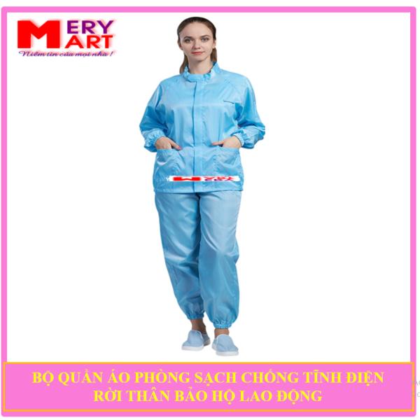 Bộ quần áo phòng sạch chông tĩnh điện rời thân màu xanh dương - Nam Nữ