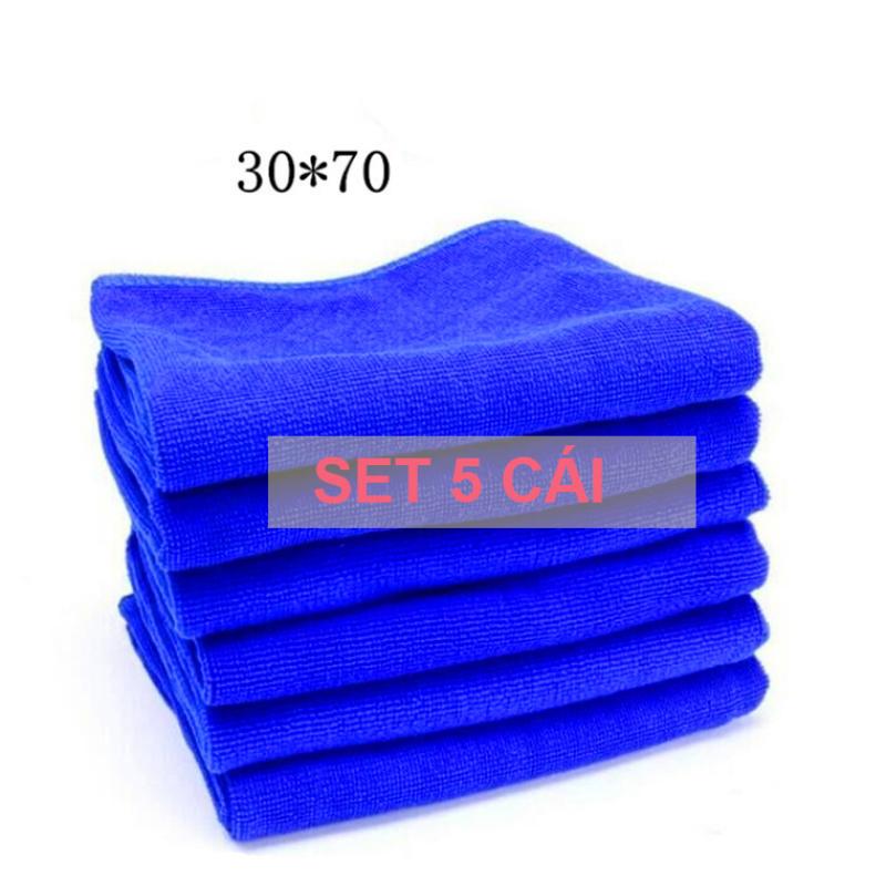 Combo 5 Khăn xanh dài 30x70cm microfiber chuyên lau xe. Mã 5B927