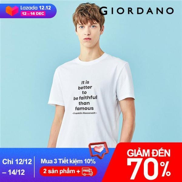 Giordano Áo thun tay ngắn in chữ làm bằng cotton 100% vải mềm mịn mang phong cách trẻ trung dành cho nam, mẫu 01090215 - INTL