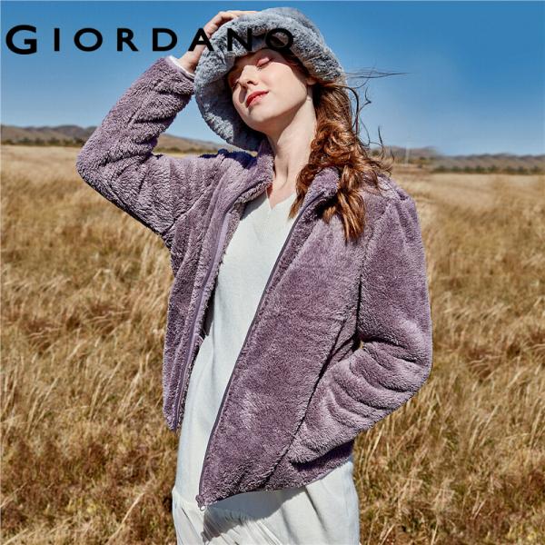 Áo khoác lông nhung cổ đứng có nón dành cho nữ chất liệu dày dặn ấm áp Giordano
