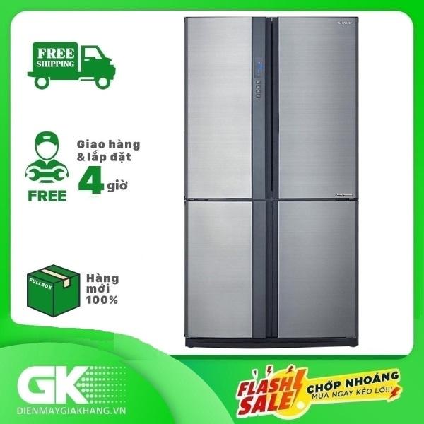 Tủ lạnh Sharp SJ-FX631V-SL 626L, 4 cửa, công nghệ J-Tech Inverter, khử mùi Nano Bạc - Đồng, khay kính chịu lực - Bảo hành 12 tháng