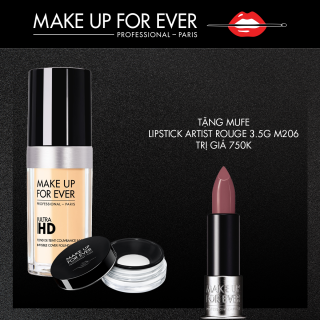 MAKE UP FOR EVER - Combo Kem Nền Ultra Hd Foundation 30Ml + Phấn phủ Holiday Ultra HD Loose Powder 8.5g (Limited Edition)+ Lipstick Artist Rouge 3.5G M206 thumbnail