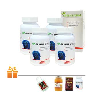 Bộ 4 viên uống Nature Gift tăng tuần hoàn não Green Living (Hộp 60 viên) TẶNG 1 Hộp Bổ não cùng loại & 1 Hộp Đông Trùng Hạ Thảo 30 viên & 1 Hũ Trà Chanh Mật Ong Hàn Quốc 580g & 1 Túi vãi Nature Gift thumbnail