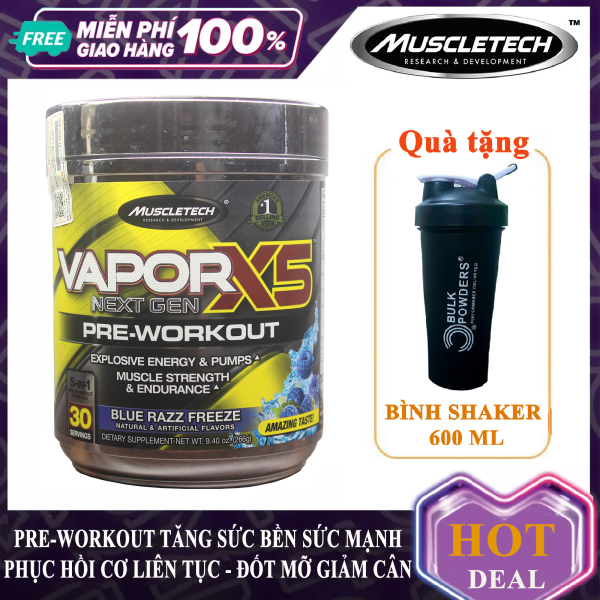 [FREE SHAKER] Pre-Workout Vapor X5 của MuscleTech hộp 30 lần dùng hỗ trợ Tăng Sức Bền, Sức Mạnh đốt mỡ giảm cân cho người tập GYM và chơi thể thao - thực phẩm bổ sung