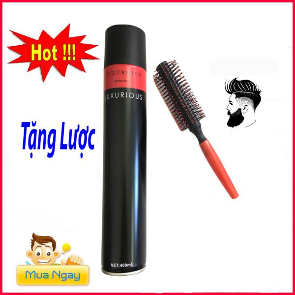 Gôm xịt tóc giữ nếp cứng (10-14h) Luxurious 420ml tặng lược tròn/keo xịt tóc/ gel xịt tóc/sáp vuốt tóc, sản phẩm tốt, chất lượng cao, cam kết như hình, độ bền cao