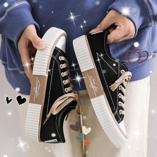(Video 5 màu) Giày nữ,giày thể thao C-2 C-3 kiểu dáng cơ bản chữ ký JiNe giá rẻ