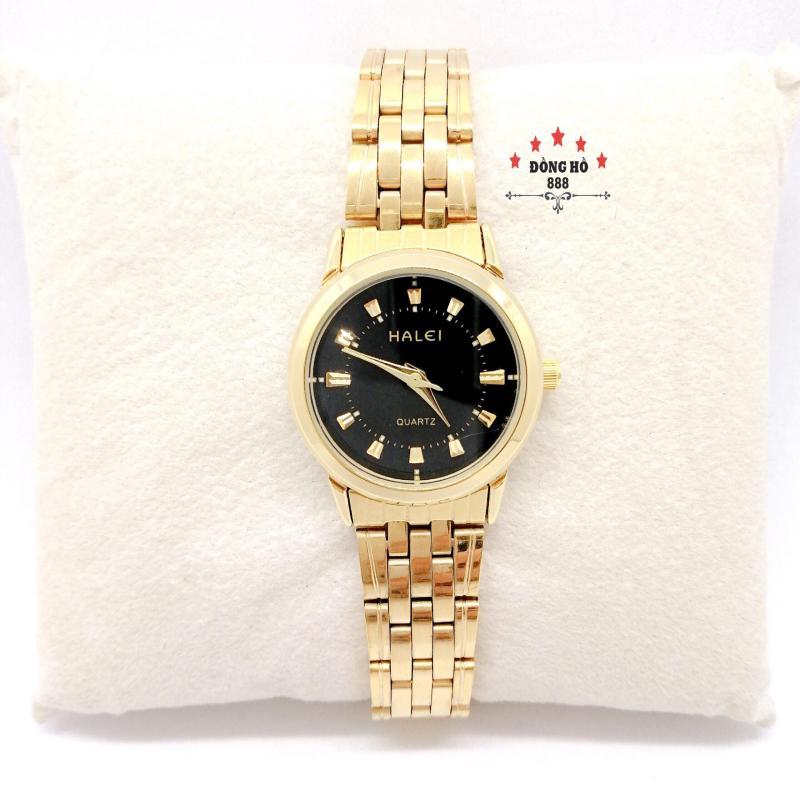 Đồng hồ nữ HALEI dây kim loại thời thượng ( HL502 dây vàng mặt đen ) - TẶNG 1 vòng tỳ hưu phong thuỷ