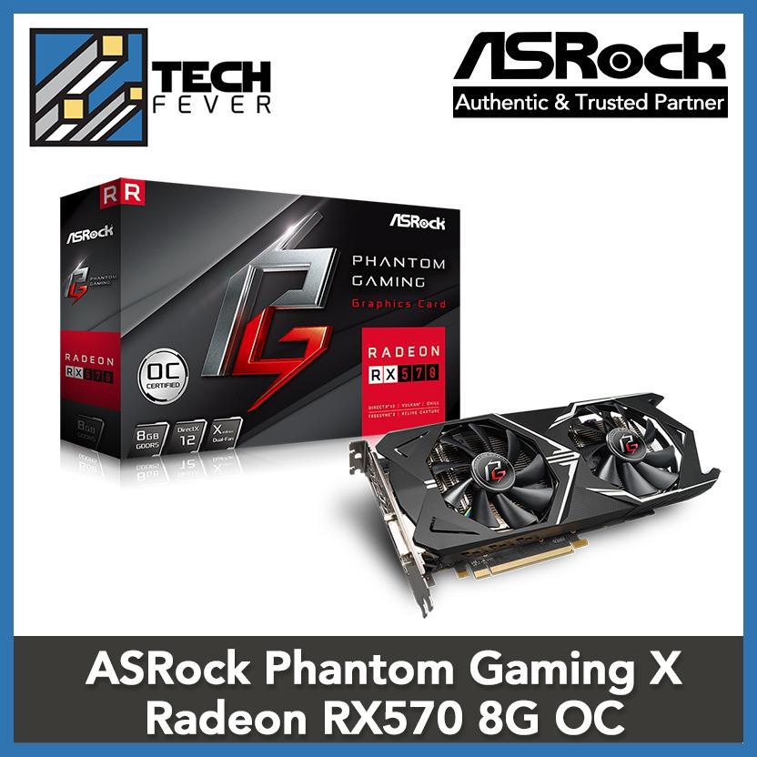 ASRock Phantom Gaming X Radeon RX570 8G OC Video Graphic Card VGA