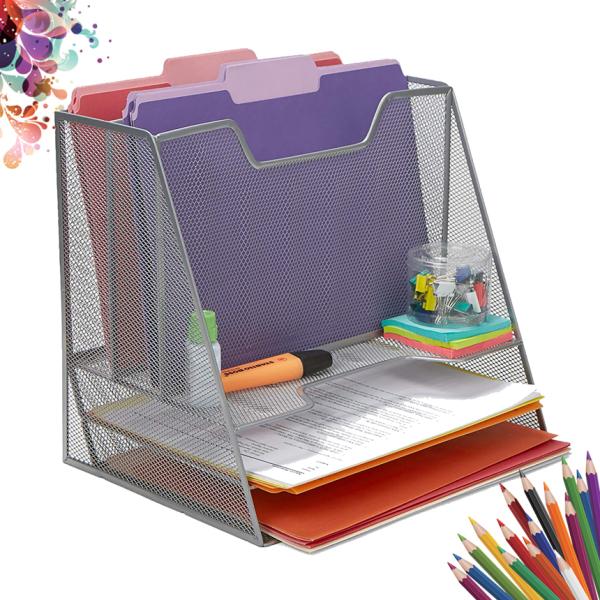 Mua Khay đựng tài liệu để bàn văn phòng 5 ngăn đa năng lưới thép sơn tĩnh điện (Màu bạc - SO01SILVER) - Dụng cụ văn phòng cao cấp