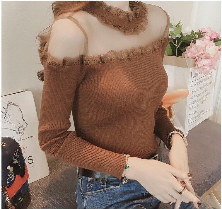 Áo len nữ cổ ren