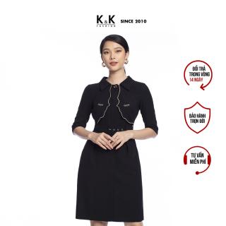 Đầm Công Sở Nữ Dáng Chữ A K&K Fashion KK104-09 Đen Tay Lỡ Kèm Thắt Lưng thumbnail