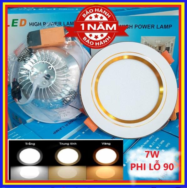 Đèn led Âm Trần 7W CAO CẤP - Viền vàng VIỀN bạc đế tản nhiệt - 3 chế độ thích hợp làm đèn trang trí trần nhà thạch cao [bảo hành 1 năm]
