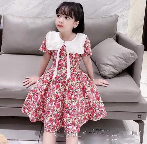 Giá bán {HÀNG MỚI VỀ} Váy bé gái - Váy hoa cổ nơ cực xinh cho bé gái - VBG-HH-HX