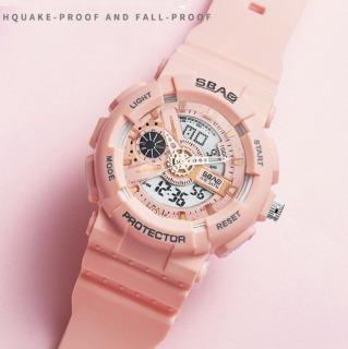 Đồng hồ nữ SBAO 8022 đồng hồ nữ thể thao chạy song song máy kim và điện tử dây silico cao cấp , đồng hồ Đầy đủ các chức năng của đồng hồ như bấm giờ thể thao, báo thức, xem thứ ngày,tháng thumbnail