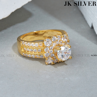 Nhẫn nữ mặt vuông đính soàn mạ vàng 18K cao cấp JK Silver, tặng thêm mã 10K + miễn phí ship, nhẫn nữ thiết kế tinh xảo cao cấp giá rẻ, trang sức hottrendU.nhan498 thumbnail