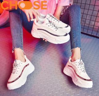 Giày Độn Sneaker Nữ Đế Đúc Gơn Sóng Đỏ Bạc In Chữ Hàn Quốc 2904 thumbnail