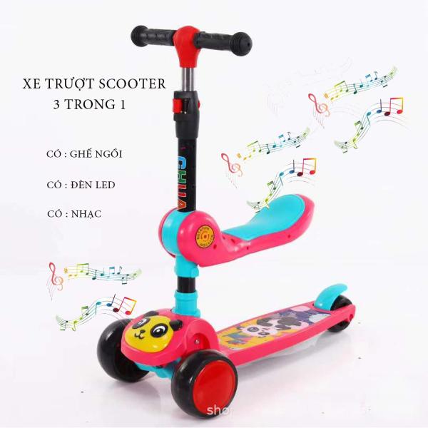 Xe Trượt, Xe tròi chân Scooter có nhạc có đèn led 3 Trong 1, Bánh Phát Sáng Cho Bé Từ 3 - 8 Tuổi Tải Trọng Lên Đến 100kg, Đồ Chơi hoạt động ngoài trời cho bé