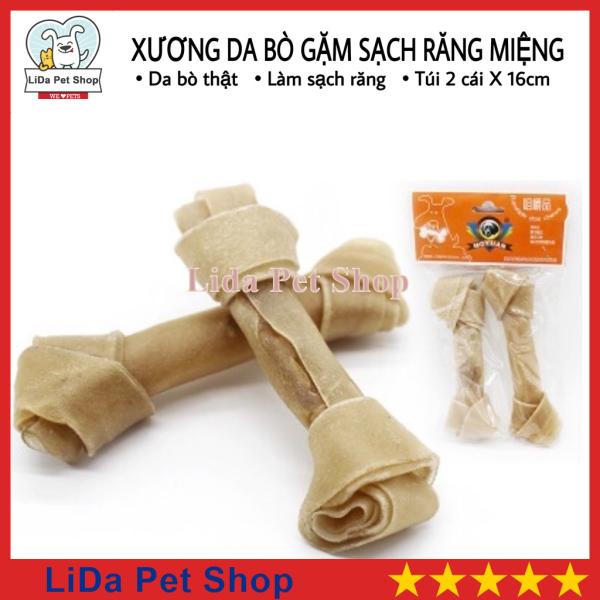 [Lấy mã giảm thêm 30%]HN- Xương da bò cao cấp dành cho chó gặm sạch răng khử mùi hôi miệng - Túi 2 chiếc 16cm - Lida Pet Shop