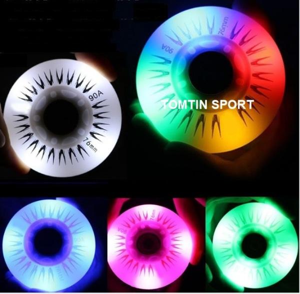 Phân phối Bánh giày patin người lớn-Combo 8 bánh patin cao su có đèn led phát sáng 7 màu trượt mượt và êm có độ trơn, có size 72mm,76mm,80mm [TOMTIN SPORT]
