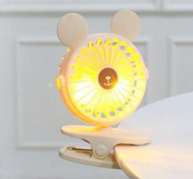 Quạt mini [Tích hợp đèn ngủ] góc xoay 720 độ, liên tục 6 tiếng kẹp xe đẩy tiện dụng