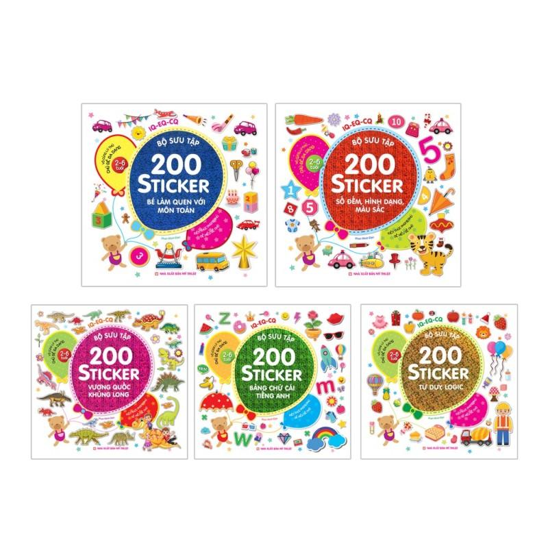 Sách - Combo 5 Bộ 200 Sticker ( Chủ Đề Đa Dạng 2-6 Tuổi)