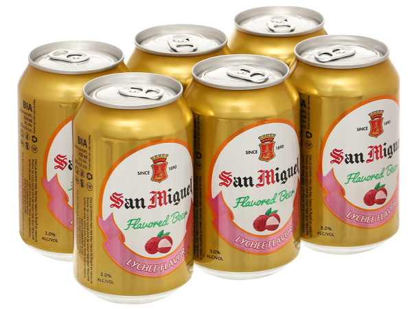 6 lon bia trái cây San Miguel vị vải 330ml