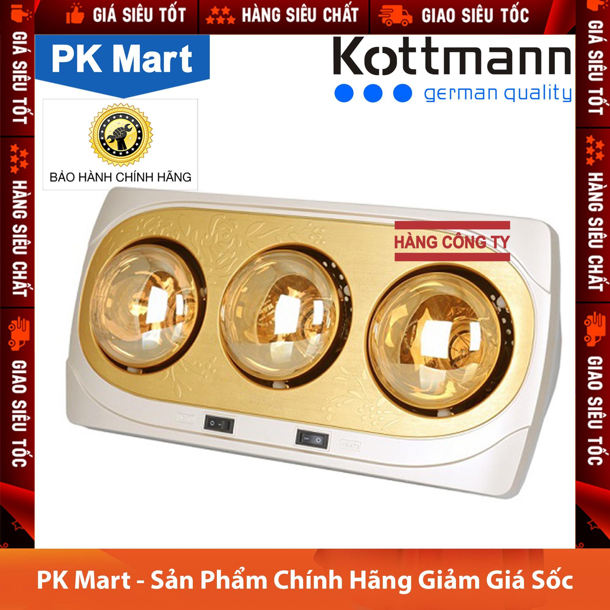 Đèn sưởi nhà tắm 3 bóng treo tường Kottmann K3B-H (Vàng) - Hàng công ty