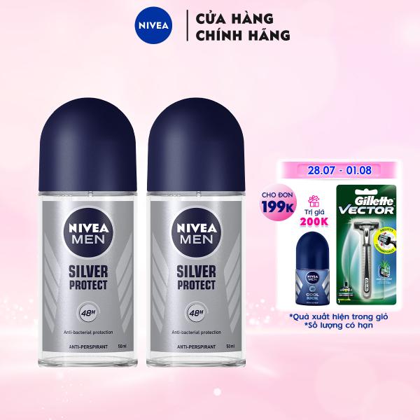 Bộ đôi Lăn Ngăn Mùi NIVEA MEN Silver Protect Phân Tử Bạc Giảm 99.9% Vi Khuẩn Gây Mùi (50ml) - 83778 giá rẻ