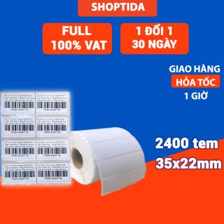 Tem in nhiệt Shoptida loại 2400 tem 35 22mm in minicode, barcode, 2 tem 1 hàng, sử dụng cho máy in nhiệt Shoptida SP4 thumbnail