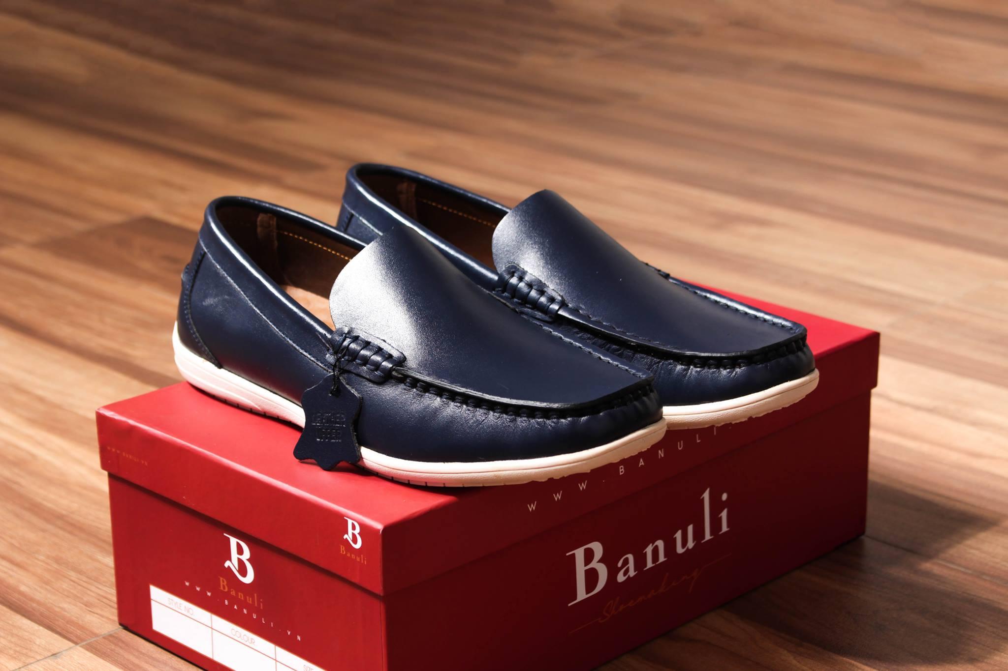 Giày nam cao cấp chính hãng BANULI, kiểu giày lười C5DL1T0 da bò thật đế cao su tự nhiên