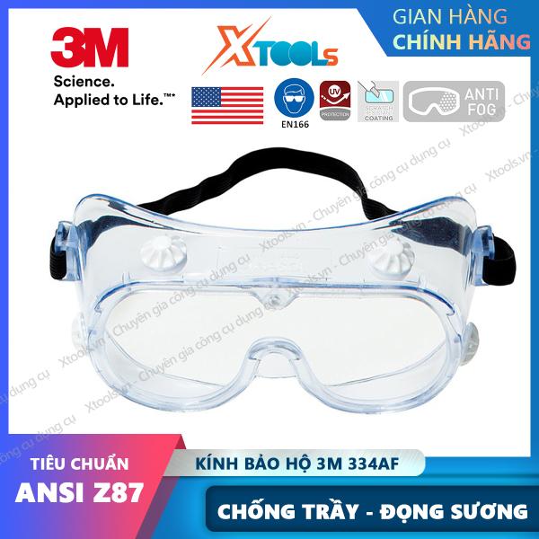 Giá bán Kính bảo hộ chống hóa chất 3M 334AF Mắt kính chống tia UV, chống khói bụi, trầy xước, bảo vệ mắt, đeo được kính cận [XTOOLs][XSAFE]