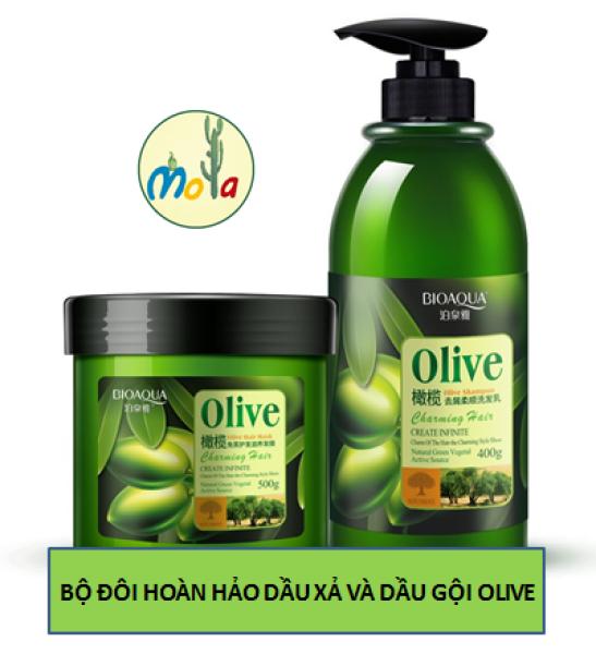 Cặp Dầu Gội Dầu Xả Ngăn Rụng Tóc Phục Hồi Tóc Hư Tổn Olive Bioaqua Mola giá rẻ