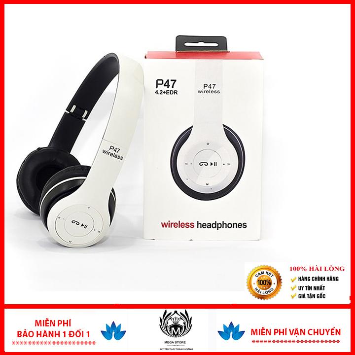 Tai nghe chụp cao cấp Bluetooth Growntech P47 có khe thẻ nhớ, phiên bản mới, nâng cấp mọi tính năng, chất lượng âm thanh tuyệt hảo, chuẩn bass- KHÔNG LÀM ĐAU TAI