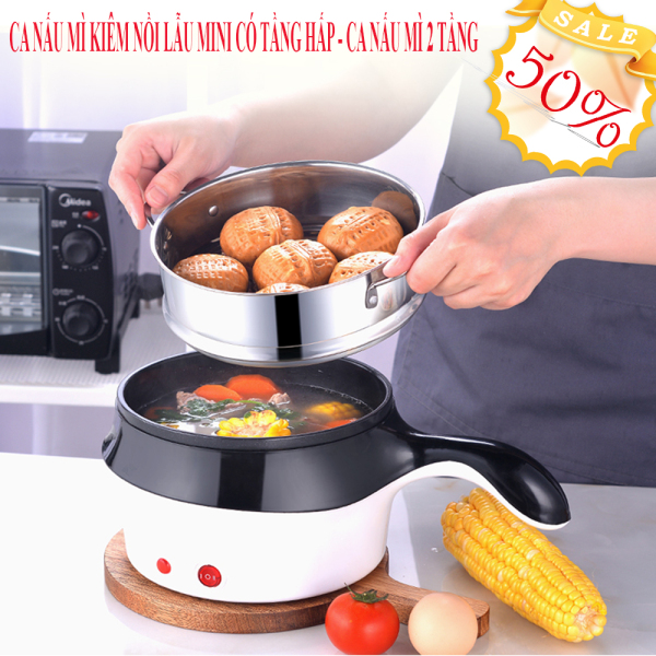 Nồi lẩu điện ca mì có lồng hấp 18cm, Ca điện, Nồi hấp trứng, luộc thức ăn, nồi nấu đa năng siêu tiện lợi 1.8L + kèm vỉ hấp trứng siêu tiện lợi, bảo hành 1 đổi 1
