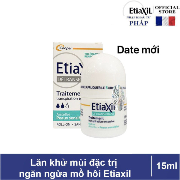 Lăn khử mùi Etiaxil ngăn ngừa mồ hôi dành cho DA NHẠY CẢM không ướt dính áo hay gây ố vàng 15ml