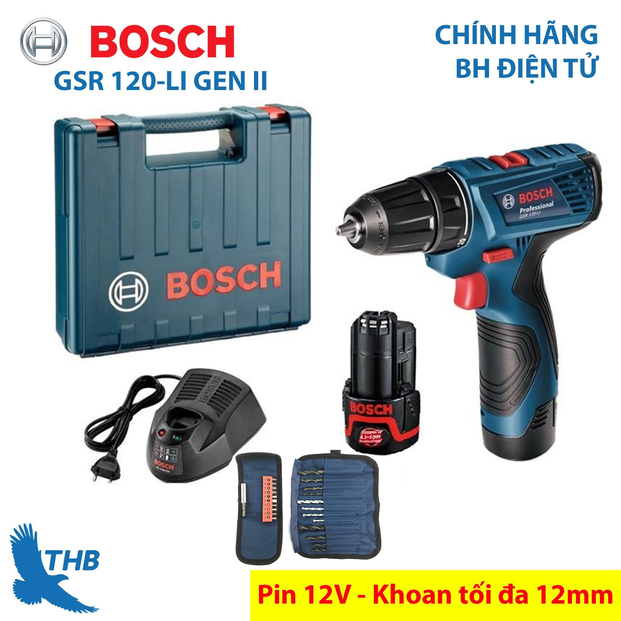 Máy khoan bắt vít Máy khoan cầm tay dùng Pin 12V Bosch GSR 120-LI GEN II Mới và phụ kiện Xuất xứ Malaysia Bảo hành 6 tháng