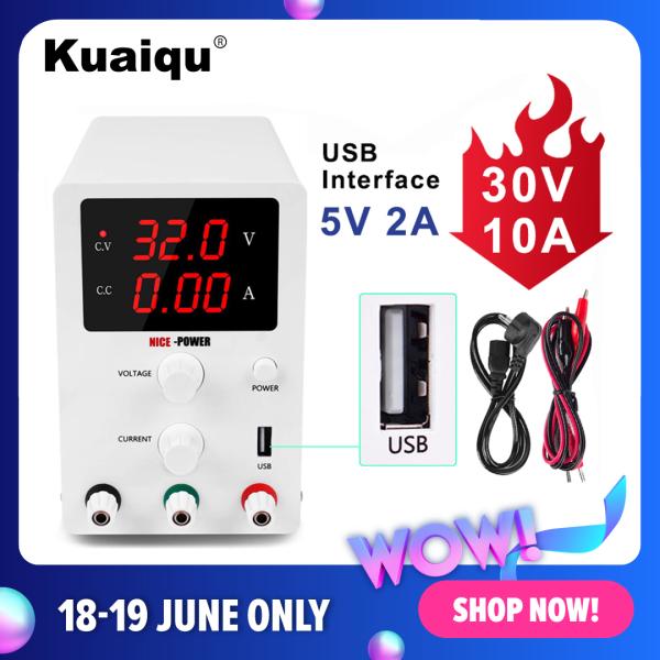Giá [Hot sale]KUAIQU 0-30V 0-10A Bộ điều chỉnh chuyển mạch DC có thể điều chỉnh Bộ ổn định nguồn cung cấp với cổng USB, Để bảo trì điện thoại di động, kiểm tra lão hóa, phòng thí nghiệm