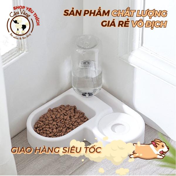 [ CHÉN ĂN TIỆN LỢI 2IN 1 ] Bát đựng thức ăn và bình uống nước tự động cho thú cưng hình trái tim dễ thương