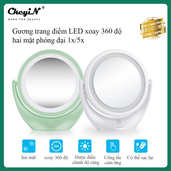CkeyiN Gương Trang Điểm Với Đèn LED, Hai Mặt Phóng To Để Bàn Trang Điểm Gương Với 360 Độ Xoay Và Màn Hình Cảm Ứng Đối Với Trang Chủ Bàn Phòng Tắm Sử Dụng MA062 giá rẻ