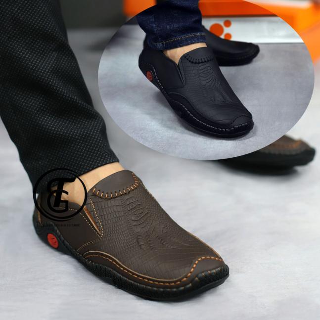 Giày mọi nam da bò thật in vân cá sấu siêu đẹp 2020 [p-1] giá rẻ