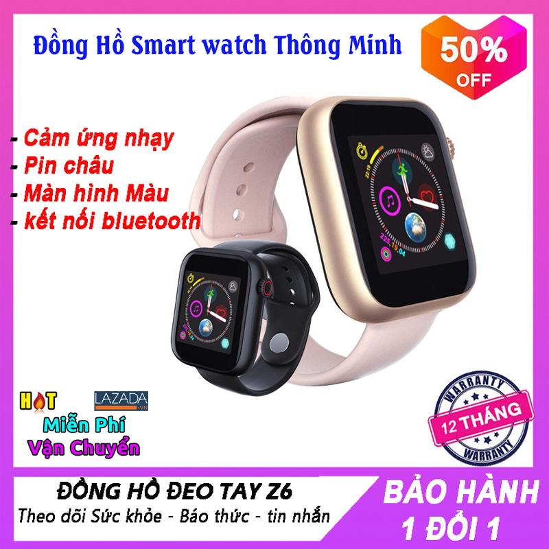 Đồng Hồ thông minh Smart Watch Z6, màn hình cảm ứng, Theo Dõi Nhịp Tim, Kết nối Bluetooth 3.0 Có Camera Hỗ Trợ SIM Thẻ TF đồng hồ dành cho android, nghe nhạc thỏa thích, BH 1 Đổi 1.