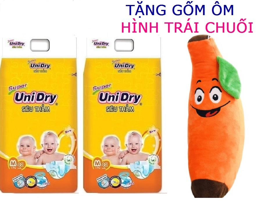 [Tặng 1 gối ôm hình trái chuối] Combo 2 gói Tã dán Unidry M42 (bé 6-11kg)