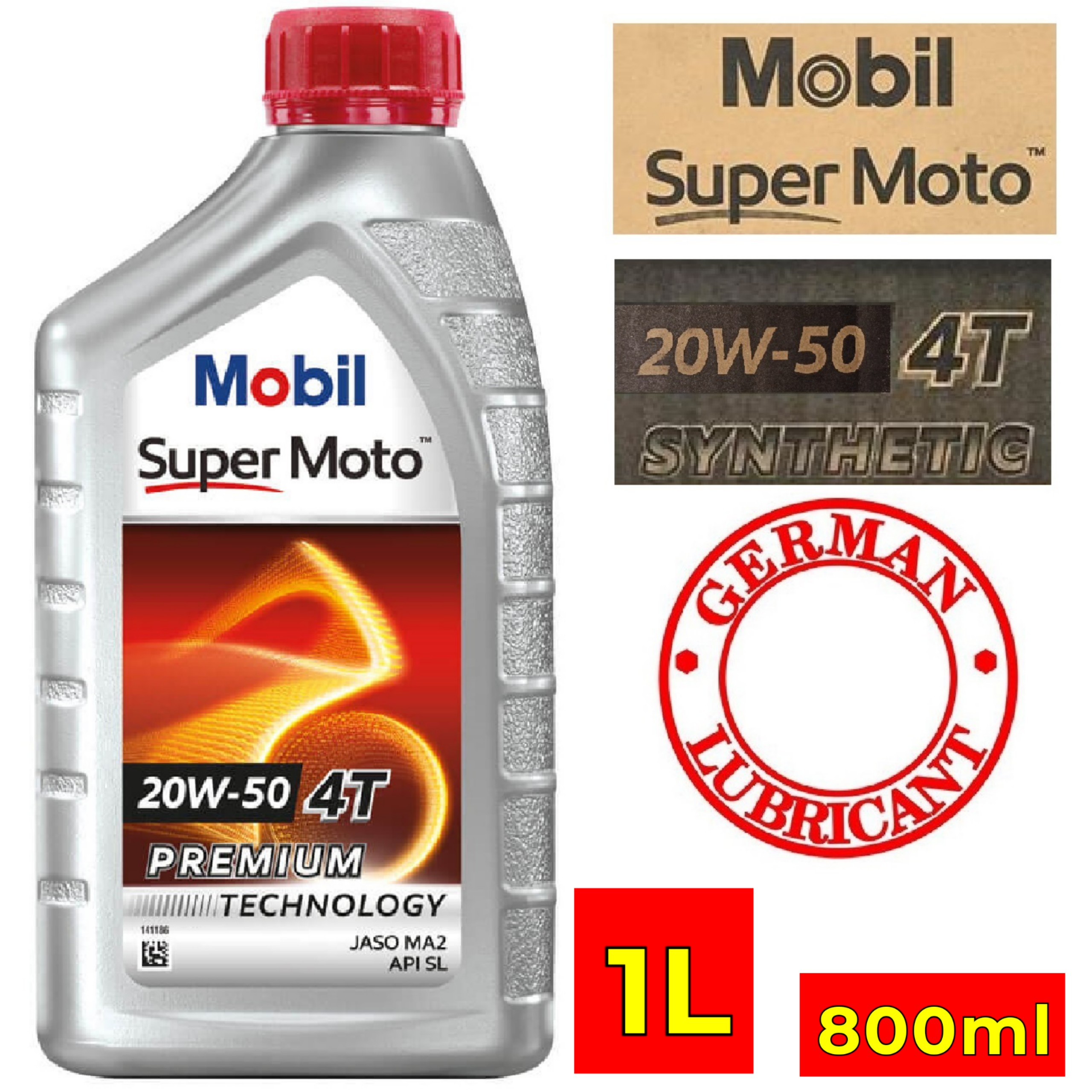 [HCM]Dầu nhớt Mobil Super Moto 20w50 (chai) German Lubricant 800mL - 1L