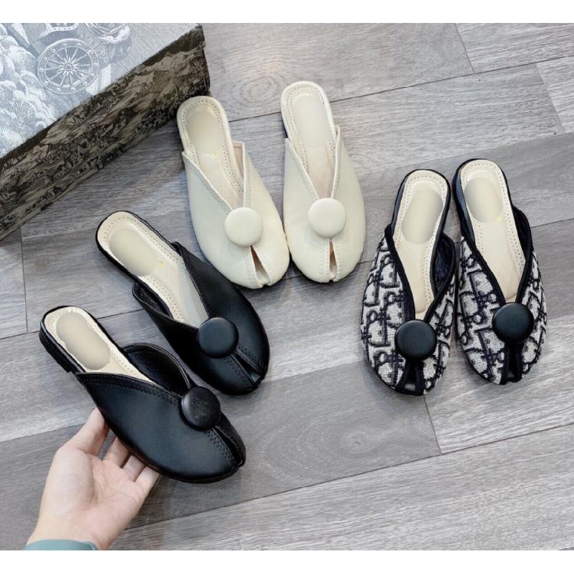 Giày Sục Cánh Bướm Hở Mũi Phối Khuy Tròn Siêu Xinh giá rẻ