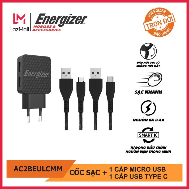 Sạc Energizer 2.4A 2 Cổng màu đen, kèm 1 cáp micro USB, 1 cáp usb Type C - AC2BEULCMM. Bảo hành trọn đời. Hàng chính hãng