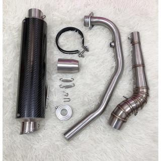 pô lon leovin carbon - kèm cổ 2 khúc - tặng tiêu giảm thanh - dành cho xe máy ngắn - 25cm raider FI - satria thumbnail