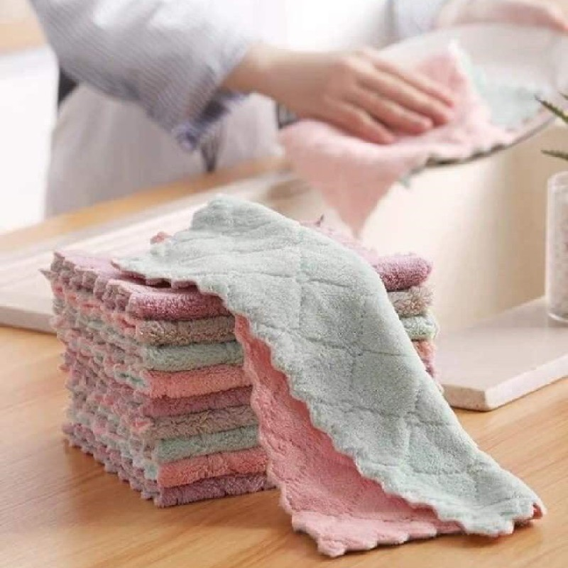 Set 10 khăn lau bếp đa năng dùng cho vệ sinh nhà cửa, khăn lau đa năng thấm hút tốt