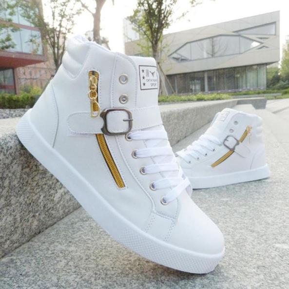 Giày nam cao cổ chất da PU cao cấp giaynam-A13 trắng giá rẻ